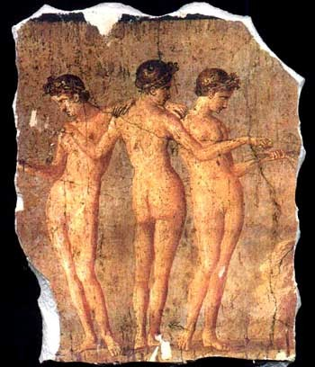 """The Three Graces"", Fragment of Wall Frieze, Pompeii"