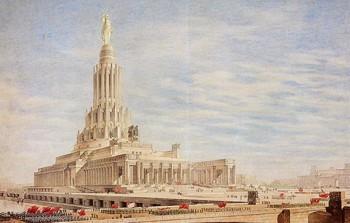 """Palace of Soviets (Dom Sovetov)"" B.Iofan, V.Gelfreikh, Ya.Belopolsky, V.Pelevin, Sculptor S.Merkulov, 1946"