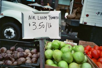 "Sign for ""Air Loom Tomato"""