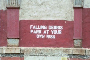 "Sign for ""Falling Debris"""