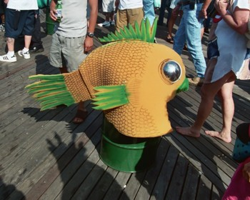 Fish Head Hat on Barrel