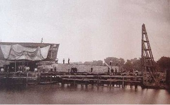 Cleopatra's Needle Moved on Pier