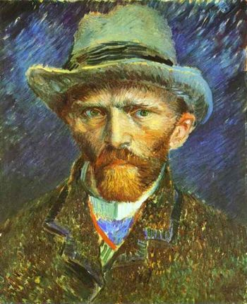 """Self-Portrait in a Grey Felt Hatt"" by Vincent Van Gogh, 1887"