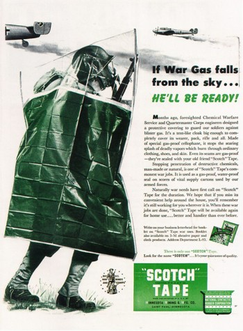 World War II Ad Showing Anti-Chemical Warfare Body Bag