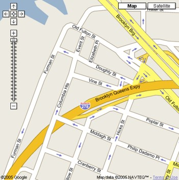 Closeup of Map of Columbia and Fulton Street