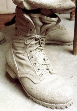 Closeup of boot of clay model