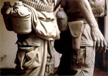 Closeup of equipment on belts of clay models
