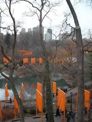 View of The Gates at south end of Central Park, facing west