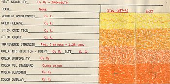 Crayola Raw Materials Tests, Orange Test Sheet