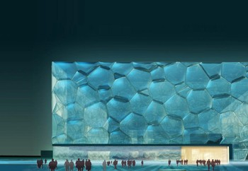 Outside View of Watercube