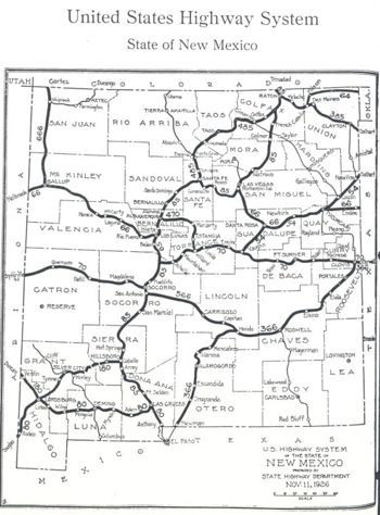 Map of Route 666 in New Mexico