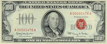 Hundred dollar bill with Ben Franklin