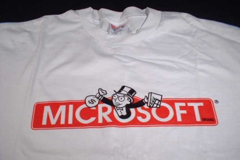 T-Shirt with parod of Monopoly showing Microsoft