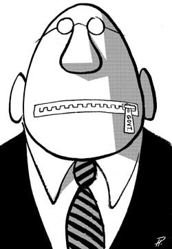 Cartoon of a man with a zipper across his mouth